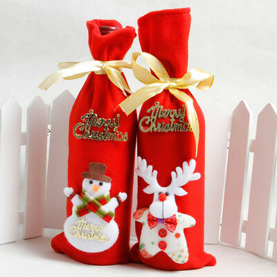 Merry Christmas Gift Sack Wine Bottle Cover Xmas Holiday Party Favor Treat Bags