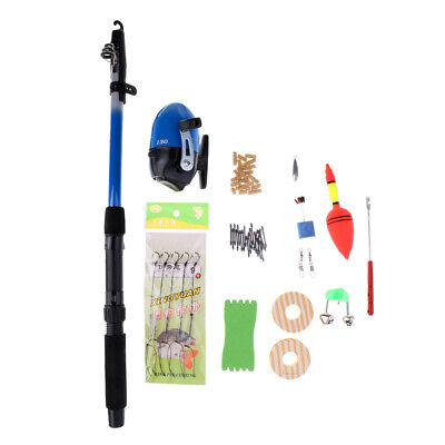 Telescopic Rod Reel Combo Full Kit with Fishing Hooks Connector Space Beans