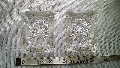 "Vintage Pair Pressed Clear Glass Ashtrays Star Pattern 2 3/4"" x 2"" x 7/8""  Nice!"