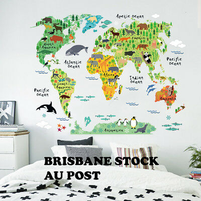 Animal World Map Wall Decals Removable Sticker Home Room Decor Kids Nursery Art