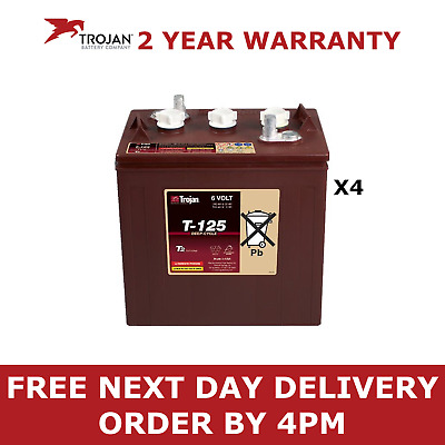 4x Trojan 6V Deep Cycle Batteries - T125