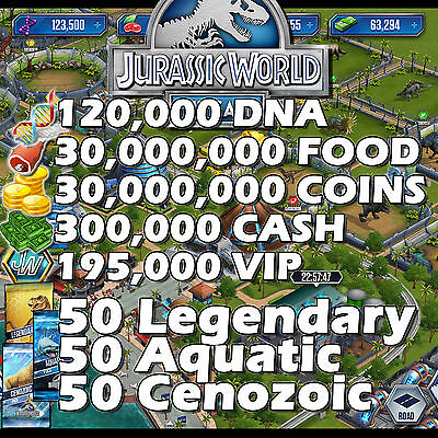 Jurassic WORLD Game Builder IOS Android DNA Coins Food Packs VIP MIX DINOSAURS