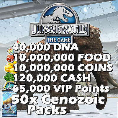 Jurassic WORLD The Game Builder IOS Android DNA Coins Food Packs VIP CENOZOIC