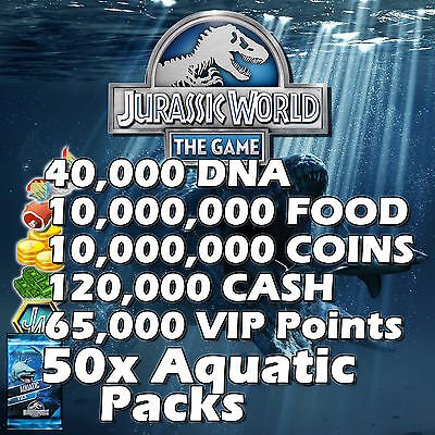 Jurassic WORLD The Game Builder IOS Android DNA Coins Food Packs VIP AQUATIC