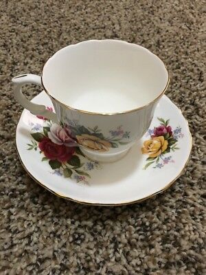 Bone China Tea Cup & Saucer of Roses by Crown Staffordshire Made in England