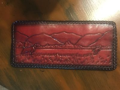 Vintage Tooled Leather Mens Tri-Fold Wallet Bird Dog Scene Hunting Braided New