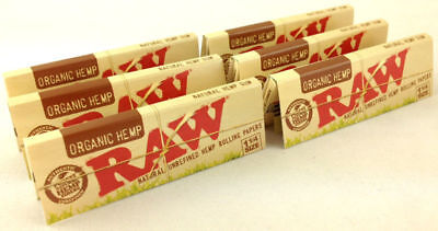 6 Pack Raw Organic Hemp Natural 1 1/4 Cigarette Rolling Papers 192 Leaves 3215-6
