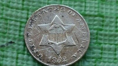1852 3CS Three Cent Silver , Trime  VG details  #N303 Old US coin