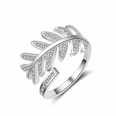Women Elegant Solid 925 Sterling Silver AAA CZ Leaf Band Ring Size O Adjustable