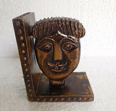 Handcrafted Collectible Wooden Hand Painted Man Face Bust Statue