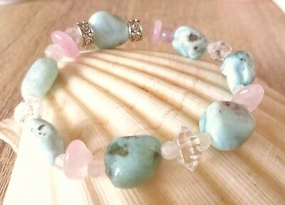 Atlantis Dolphin Light Body Nugget Bracelet Larimar Herkimer Diamond Super 7