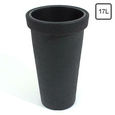 Classic Tall 20L Slim Tall Round Elegant Dark Grey/Black Stone Effect Flower Pot