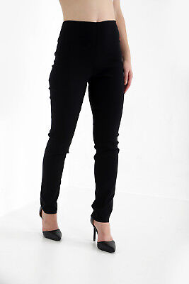Womens Girls Black High Waisted Trousers Quality School Work Stretch Pants 6-18