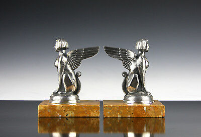 A pair of Winged Art Deco Sphinx mascots by Ruffony French 1920s