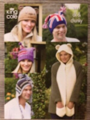King Cole Knitting Pattern: Mens & Ladies Novelty Hats, DK/Chunky, 3441