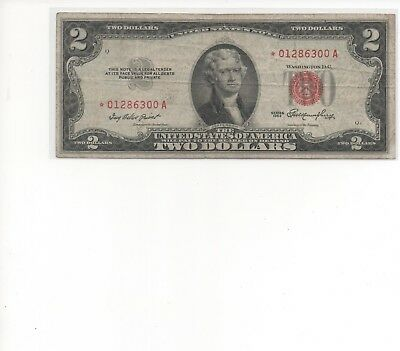 1953- $2 ** STAR ** Red Seal Note Two Dollar Bill VG - F OLD CURRENCY