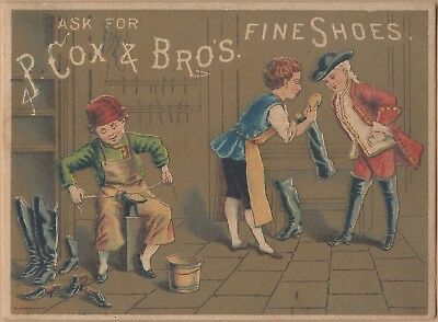 Victorian Trade Card-P Cox & Bros Shoes-J Fahy & Co-Rochester, NY-Shoemakers
