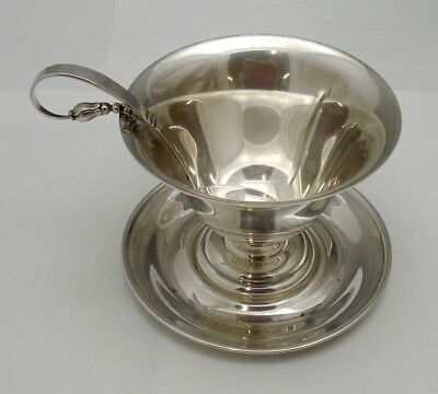 Antique Randall Sterling Silver Footed Pedestal Bowl Tray & Hand Wrought Ladle