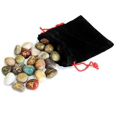 Mixed Indian Runes Stones And Signs In Pouch Magic Witchcraft Goth Talismans