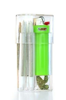 Smoke Space - Cigarette Case - Bic Lighter - Smoking Accessories - (Solid Green)