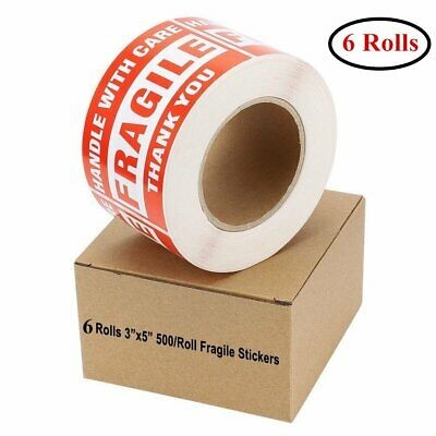 6 Rolls Large 3x5 Fragile Stickers Handle with Care Shipping Labels 500 Per Roll