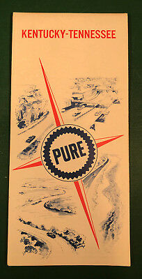 Vintage 1967 Pure Oil Kentucky Tennessee Road Map Gas Service Station