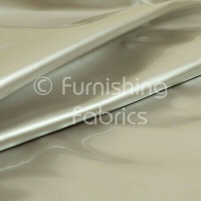 Smooth Faux Leather Gloss Finish Plain Silver Colour Vinyl Upholstery Fabric