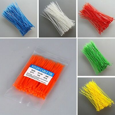 100Pcs Nylon Plastic Cable Ties Coloured Plastic Small Large Sizes Zip Tie Wraps