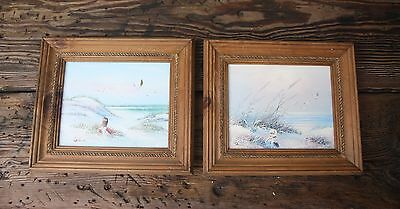 Girl by the Sea Seascape Beach Dunes Pair of Original Oil on Board Paintings