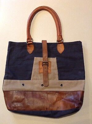 Large Leather And Canvas Tote Bag