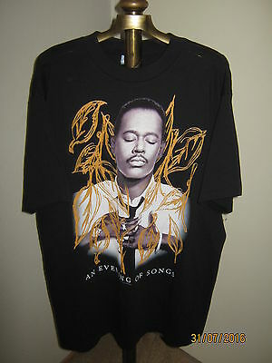 """Vintage LUTHER VANDROSS T-Shirt """"1995"""" Adult XL BLack """"AN EVENING OF SONGS"""""""