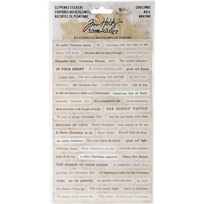 Tim Holtz Idea-Ology - Clippings Stickers - Christmas - 4 Sheets
