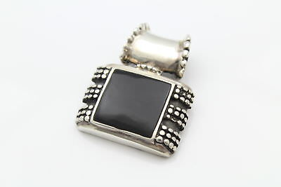 Large Heavy Rectangular Onyx Bali-Style Slide in Sterling Silver