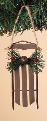 BROWN METAL RUSTIC SLED w/JINGLE BELL HOLIDAY CHRISTMAS TREE ORNAMENT