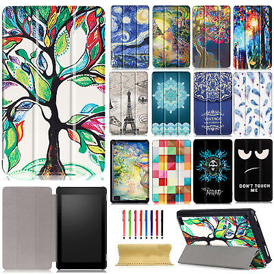 """For Amazon Kindle Fire 7"""" 2017 Release Tablet Slim PU Leather Stand Case Cover"""
