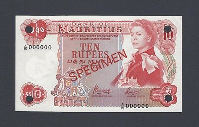 Mauritius 10 Rupees ND(1967) P31as  Specimen About Uncirculated