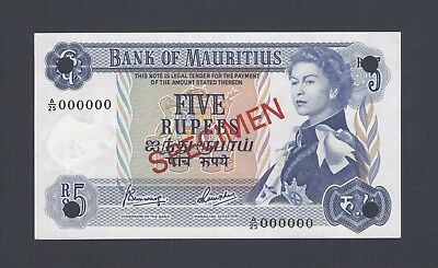 Mauritius 5 Rupees ND(1967) P30cs Signature 4 Specimen Uncirculated