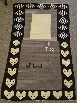 "1920's Native American Navajo Rug Saddle Blanket ""I Heart Tx"""