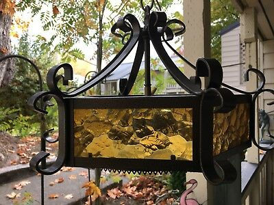 "Vintage Wrought Iron Gothic Spanish Revival Hanging Lamp ~ Light Amber 16""X 10"""