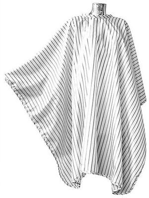 Dmi Vintage Barbering Cape White Pinstripe Polyester With Hook Barbers Use