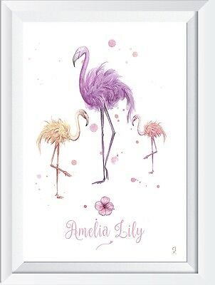 Personalised baby child name CRYSTAL PRINT Flamingo gift christening picture art