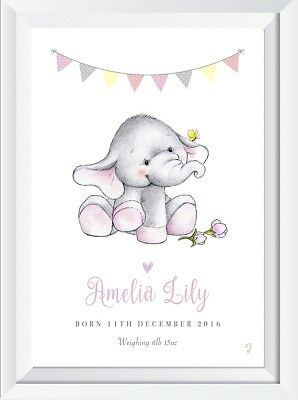 Personalised baby child elephant name print picture nursery art christening gift