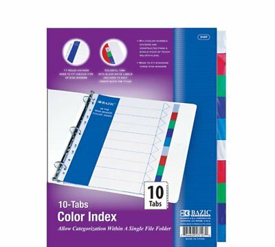 3 Ring Binder Dividers with 10 Color Tabs