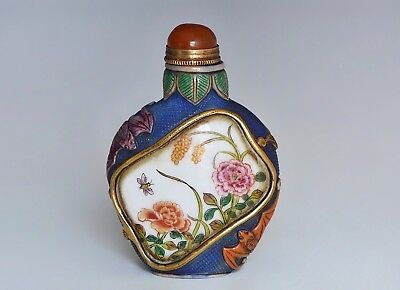 An Antique Chinese Famille Decorated Glass Snuff Bottle