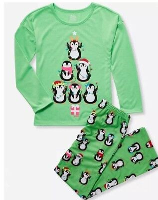 NWT Justice Penguin Xmas Lights 2-Piece Pajama Set. Sizes 6/7, 8, 10, 12.