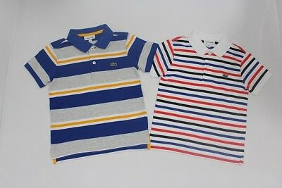 Brand New Authentic Lacoste Boys Stripe Polo Shirts Size 4.6.8.10.12