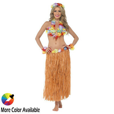 Hawaiian Grass Hula Skirt with Flowers Luau Party Halloween Costume Beach Event