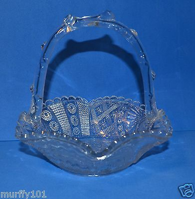 Vintage  Antique Greener Glass Co. Patterned Pressed Clear Glass Candy Basket