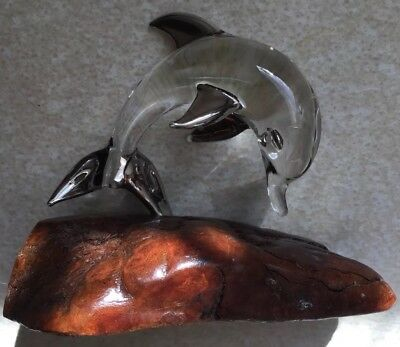 "Glass Dolphin Statue Figurine on Wood Base 3"" by 3.5"""