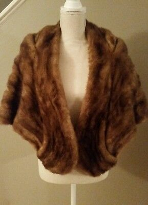Vintage Strawbridge & Clothier Women's Mink Fur Stole Shoulder Wrap Shawl Cape